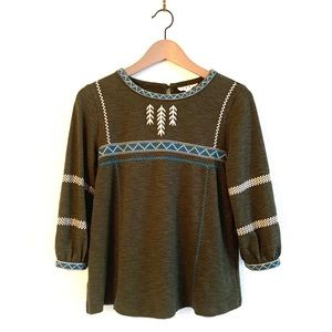 Anthropologie THML Embroidered Top Bishop Sleeve
